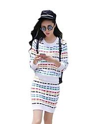 collo rotondo striscia colorata bodycon due abiti pezzo delle donne