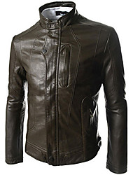 Charels Men's Korean Simple Slim Stand Collar Leather Clothing Jacket