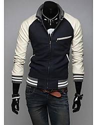 Men's Knitted Collar Slim Splicing Leather Sleeve Jacket