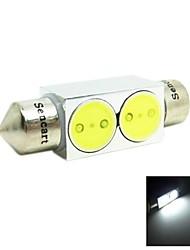 36mm 2w 2xcob 140-160lm 6500-7500k vitt ljus ledde till bil läslampa / licens lampa (12V)