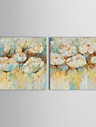 IARTS®Hand Painted Oil Painting Floral Flower Cheap Modern  Wall Art with Stretched Frame Set of 2