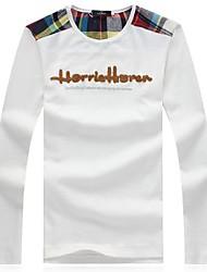Herren T-shirt-Druck Freizeit Baumwolle / Elastisch Lang-Schwarz / Blau / Weiß / Grau