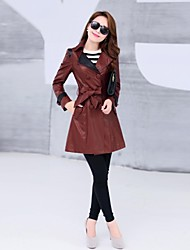 Women's Turndown Pu Midi Slim Trench Coat