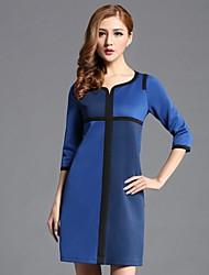 vestido de la media manga del color del contraste de las mujeres