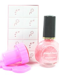 4PCS DIY Nail Art Stamping Kits(Pink Stamping Polish & Random Pattern Stamping Image Template)