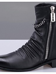 Men's Spring / Summer / Fall / Winter Closed Toe / Fashion Boots / Motorcycle Boots / Pointed Toe Leather Casual Low Heel Lace-up / Fur