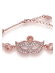 Novel Delicate Women's Fox Mask Rhinestones Rose Gold Plated Tin Alloy Chain & Link Bracelet(Rose Gold)(1Pc)