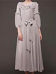 Women's New Fashion Pleat Slim Bodycon Vintage Party Chiffon Dress