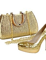 Pompes / Talons ( Or Semelle compensée/Chaussures avec les sacs assortis - Talon aiguille - Paillettes scintillantes - pour FEMMES