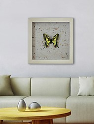 Framed 3D Art Wall Art , Animal 3D Butterflies   on Satined Paper Poster with Beige PS Frame