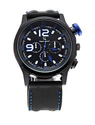 V6 SHAOPENG HALEI Luxury V6 Black Leather Sport Waterpoof Men Simple Quartz Wristwatch V60034