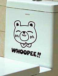 desenho animado a pequena etiqueta urso vaso sanitário