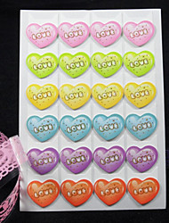 Hot Stamping Heart Pattern 6 Colors DIY Photo Corner Protector Sticker(24 Stickers/PCS)