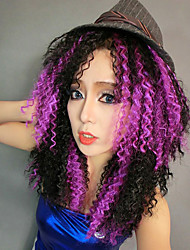 Witch Girl Corn Curly Hair Purple & Black 40cm Women's Halloween Party Wig