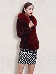 Zijindiao® Women's Genuine Mink Fur Coat with Fox Fur Collar