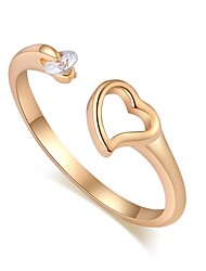Women's Fashion Heart Design 18K Gold Zircon Open Ring