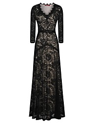 Women's Lace Black Dress, Party/Sexy/Maxi Deep V Long Sleeve