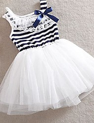 Girl's Kids Stripe Net Yarn Bubble Ball Gown Dress