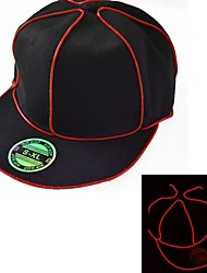 s'allument chapeau noir avec un fil rouge el conduit lueur batterie 1AAA snapback