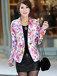 Women's Multi-color Coat , Casual/Print/Work Long Sleeve