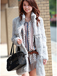 Women's Imitate Fur Sheath Stand Collar Coats
