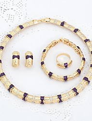 Hot Purple classic gold-plated arc artificial stone jewelry set diamond earrings jewelry with high quality