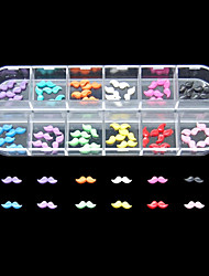 60PCS 12 Colours Cute Mustache Resin Nail Art Decoration