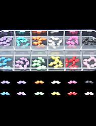 60pcs 12 couleurs moustache ongle mignon de résine décoration d'art