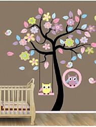 arbre et des hiboux coloré zooyoo®removable art mural maison de sticker mural décor autocollant mural maison de sticker décoration