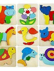 Wooden Colourful Cartoon Animal Puzzle Children Educational Toys(Random Color)