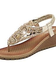 Sandalias ( Plateado/Dorado Zapatos con plataforma/Talón abierto - Tacón Cuña - Cuero de charol - para MUJERES