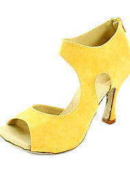 Customizable Women's Dance Shoes Latin Leatherette Customized Heel Black/Yellow/Red