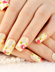 24PCS Cute Yellow Twinkle Leaf Rhinestone Nail Art Tips With Nail Glue&Nail File