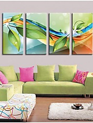 Personalized Canvas Print Leaves And Curves 30x60cm  40x80cm  50x100cm Framed Canvas Painting   Set of 4
