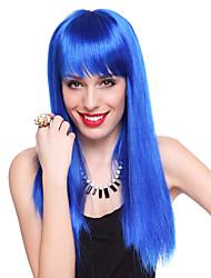 club de la reina azul recta larga fiesta de halloween peluca los 55cm de las mujeres