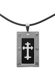 Classic Flower Cross Men's Pendant Necklace(1 Pc)