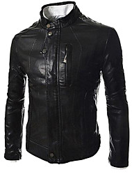 Men's Fashion Stand Collar Wash Locomotive Leather A