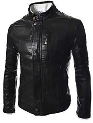 Men's Fashion Stand Collar Wash Locomotive Leather A