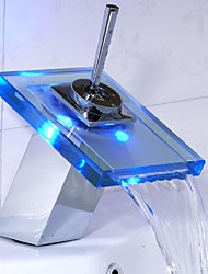 Contemporary Centerset LED / Waterfall with  Ceramic Valve Single Handle One Hole for  Chrome , Bathroom Sink Faucet