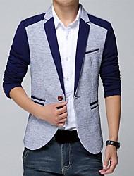 Men's Long Sleeve Regular Blazer , Cotton/Cotton Blend Pure