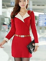 Women's Work Dress,Color Block Mini Long Sleeve Blue / Pink / Red Spring / Fall / Winter