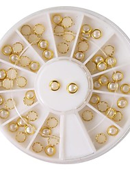 60PCS Beige Pearl Metal Lipping Nail Art Decorations