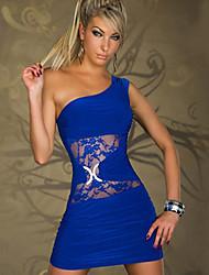 xq vestido de encaje un hombro de las mujeres