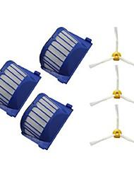 3 x Aero vac Filter&3 x Seitenbürste für iRobot Roomba 500 Serie 600 3-bewaffnet 536 550 551 552 564 620 630 650 660