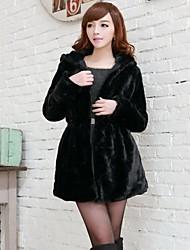 Women's Hooded Black Fur Jacket Fashion Korean Style Winter Parka Fur Coat