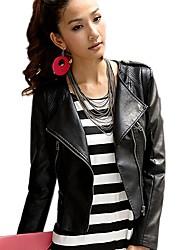 moda bavero del collo bodycon giacca di pelle corta delle donne