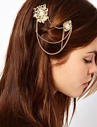 Shixin® Gothic (Flower) Pearl Crystal Barrettes  (Golden) (1 Pair)