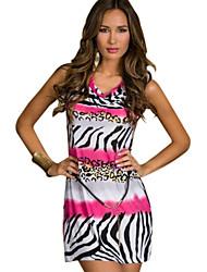Women's Animal Blue/Pink/Orange Dress , Sexy/Party Cowl Sleeveless