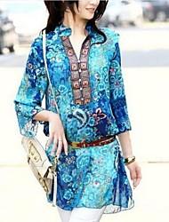 vestido de cambio estampado floral v-cuello de la mujer con cinturón