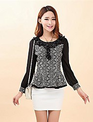 Women's Print Black Shirt , Round Neck Long Sleeve Ruffle/Flower